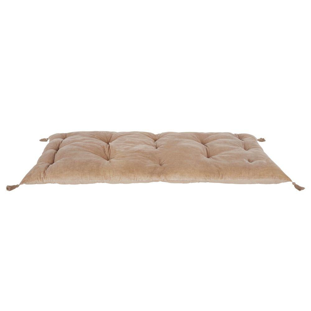 Matelas de sol en velours de coton bio taupe avec pompons 90x190