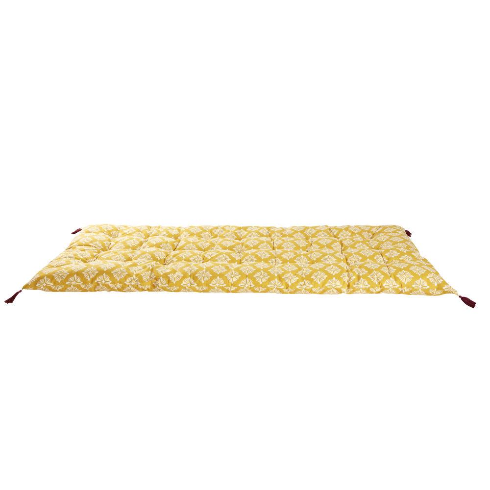 Matelas gaddiposh en coton jaune motifs graphiques blancs 90x190