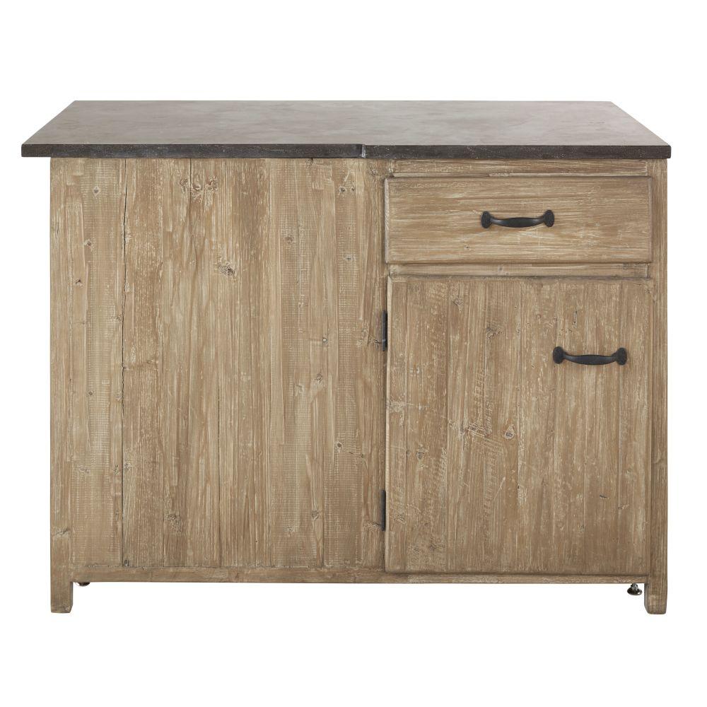 Meuble bas d'angle droit de cuisine 1 porte 1 tiroir en pin recyclé grisé
