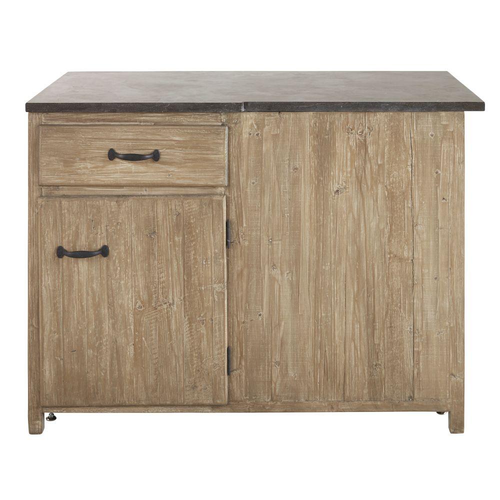 Meuble bas d'angle gauche de cuisine 1 porte 1 tiroir en pin recyclé grisé