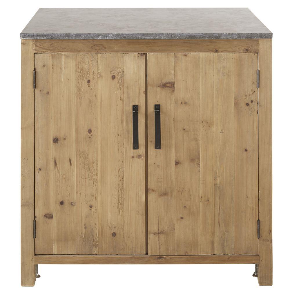 Meuble bas de cuisine 2 portes en pin recyclé effet vieilli