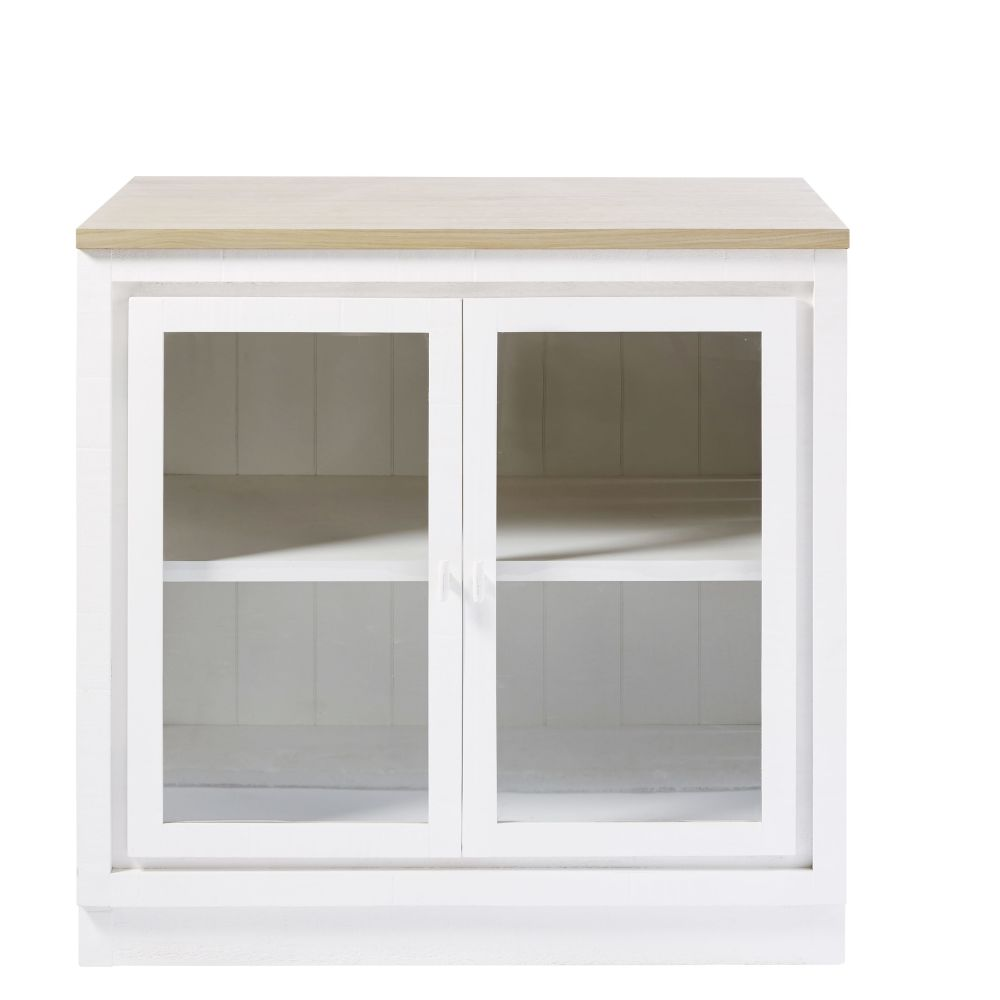 Meuble bas de cuisine 2 portes vitré blanc
