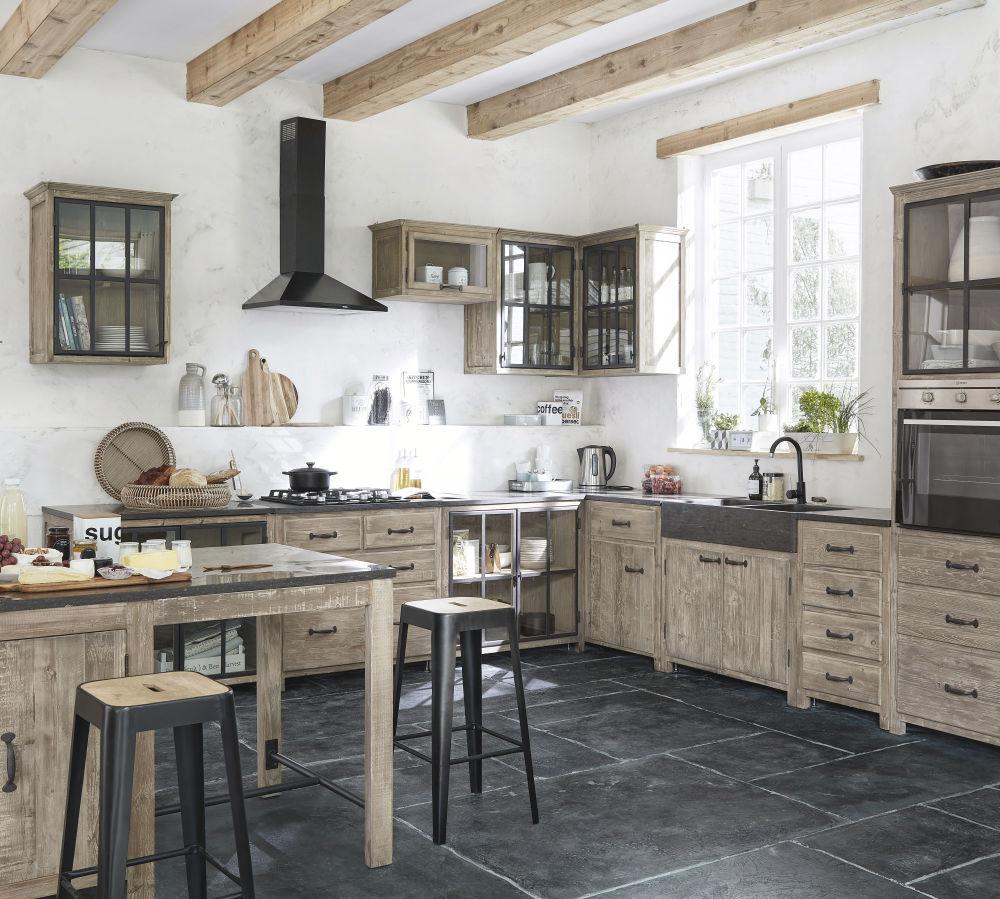 Meuble bas de cuisine 2 portes vitrées en pin recyclé grisé