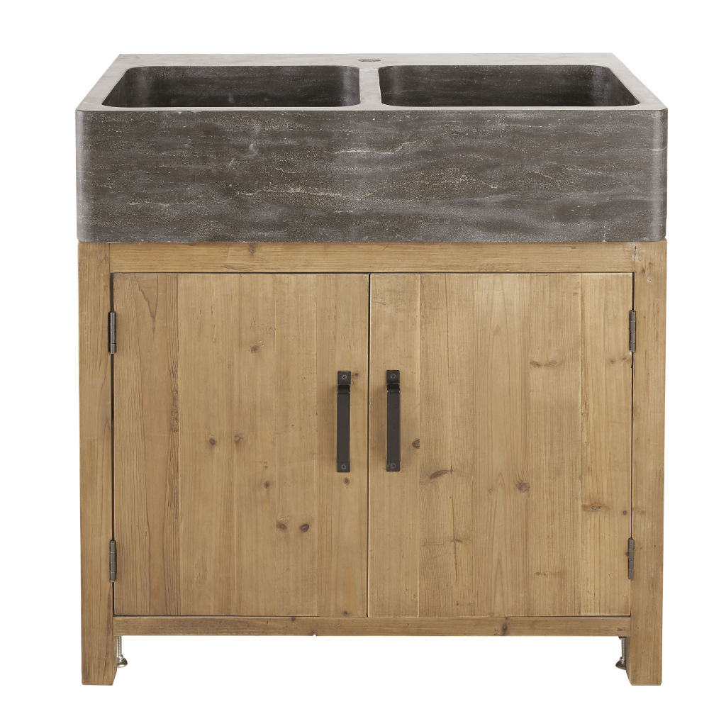 Meuble bas de cuisine pour évier 2 portes en pin recyclé effet vieilli