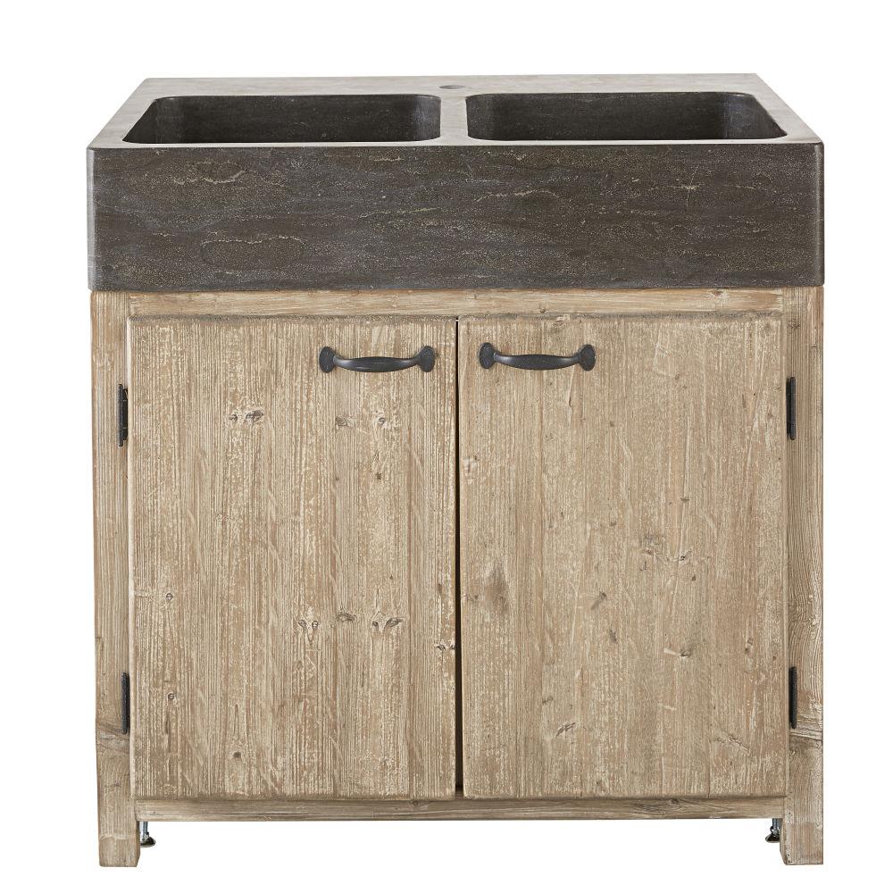 Meuble bas de cuisine pour évier 2 portes en pin recyclé grisé