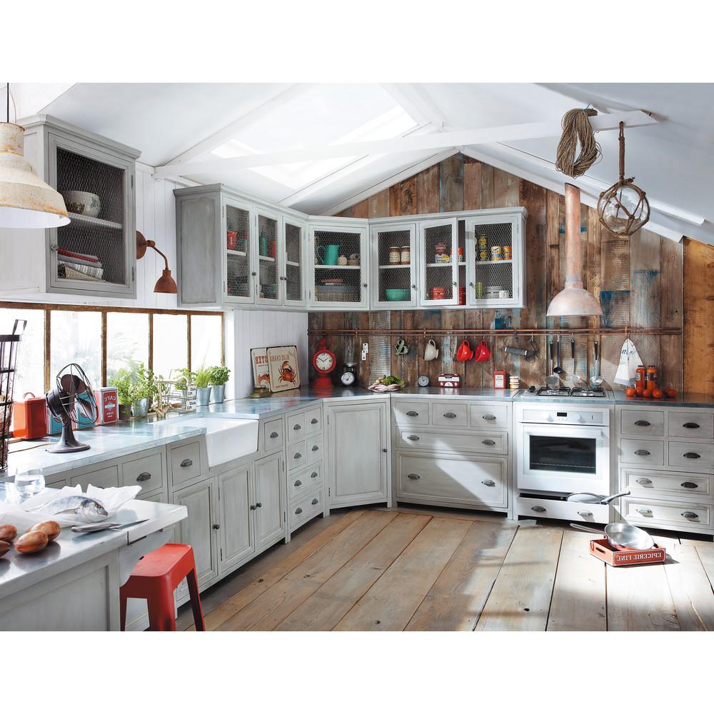 Meuble bas de cuisine pour four en bois d'acacia gris L 70 cm