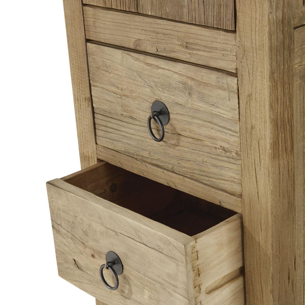 Meuble colonne de salle de bains 1 porte 3 tiroirs en orme et pin recyclés