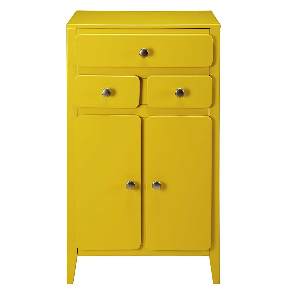 Meuble d'entrée 2 portes 3 tiroirs jaune moutarde
