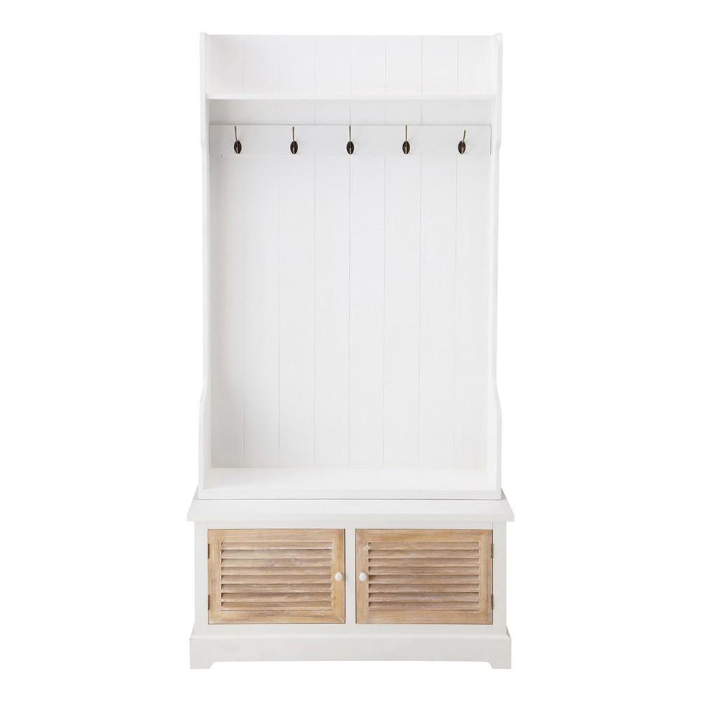 Meuble d'entrée avec 5 patères en bois blanc L 96 cm