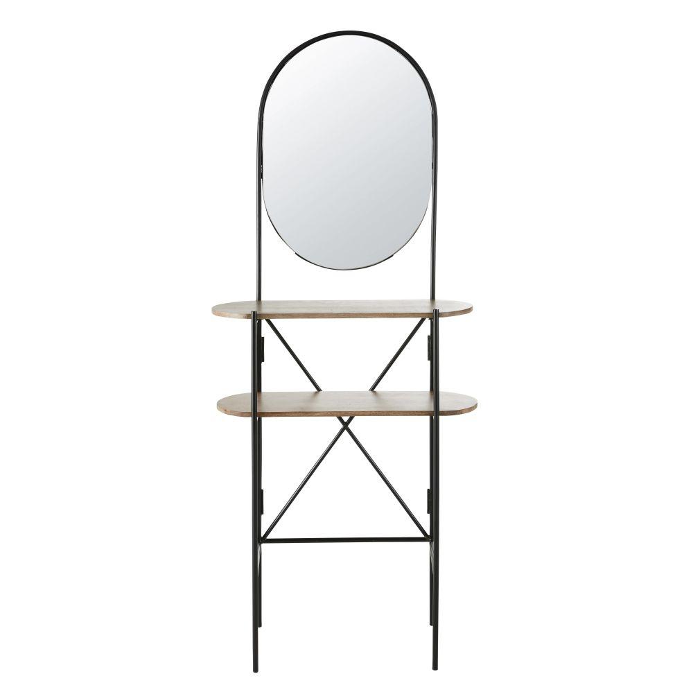 Meuble d'entrée avec miroir en métal noir et manguier massif