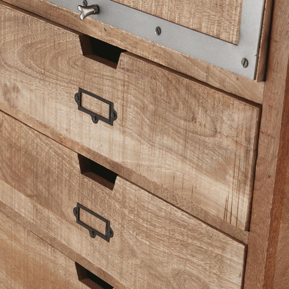 Meuble de cuisine colonne fermée 4 tiroirs en manguier massif et métal