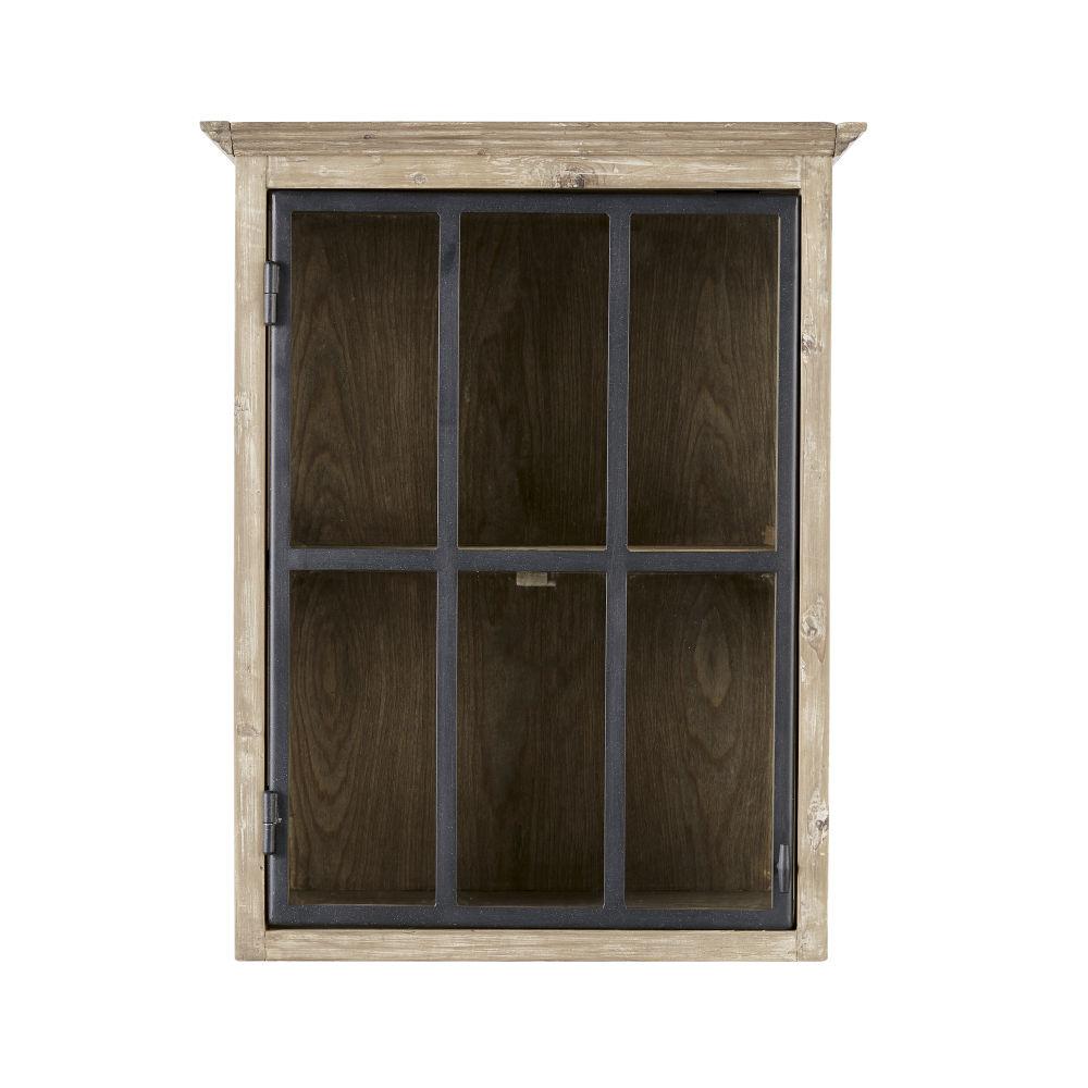 Meuble de cuisine haut 1 porte vitrée poignée à droite en pin recyclé