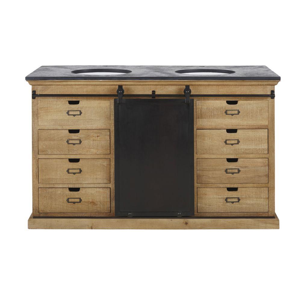 Meuble double vasque 1 porte 6 tiroirs en manguier massif, pierre aspect ardoise et métal patiné et vieilli