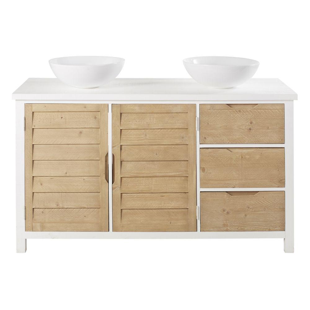 Meuble double vasque 2 portes 2 tiroirs en épicéa