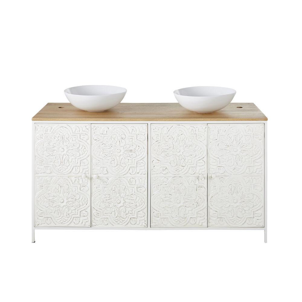 Meuble double vasque 4 portes en manguier et feuilles de métal embossées blanches