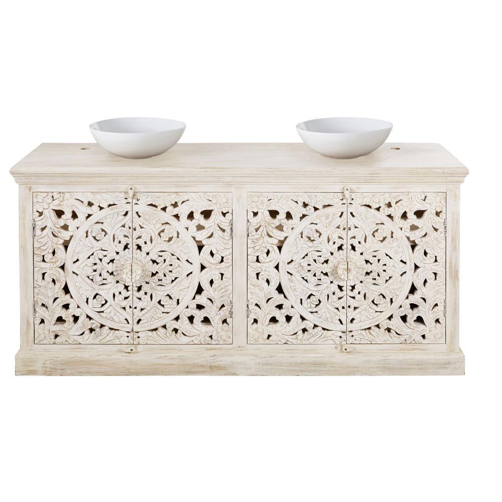 Meuble double vasque en manguier massif sculpté blanc effet vieilli