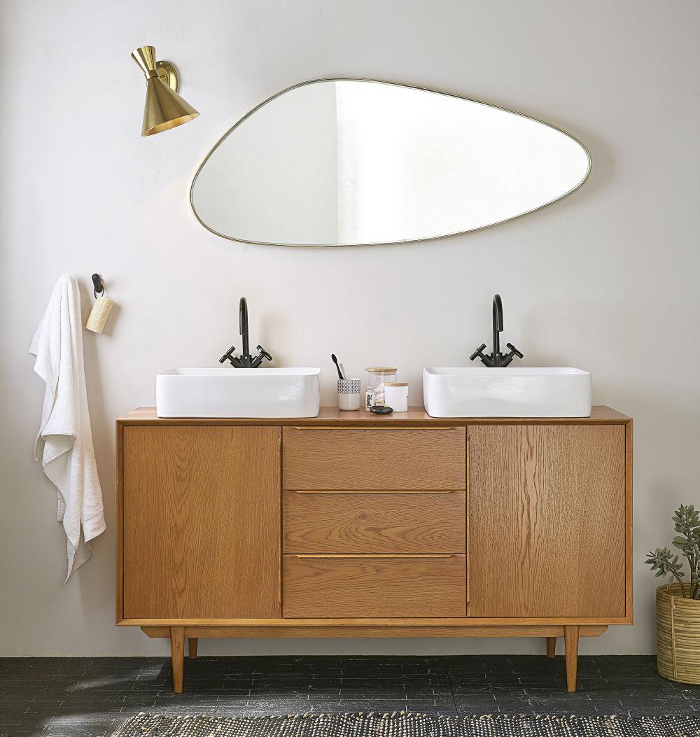 Meuble double vasque vintage 2 portes 3 tiroirs