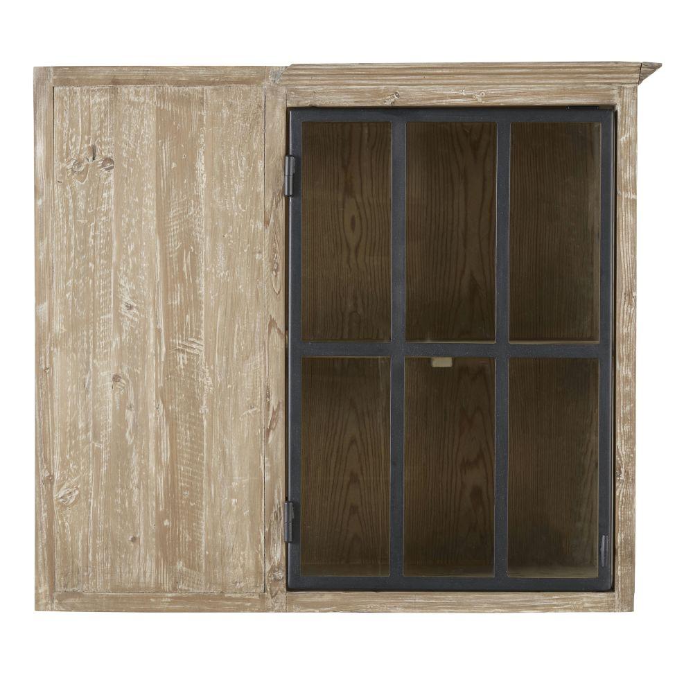 Meuble haut d'angle de cuisine 1 porte vitrée en pin recyclé