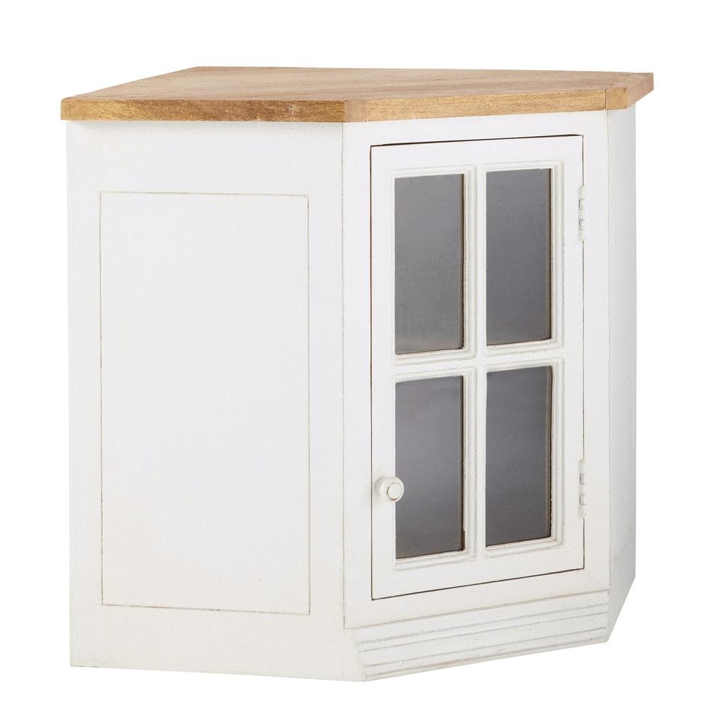 Meuble haut d'angle de cuisine 1 porte vitrée poignée à gauche ivoire