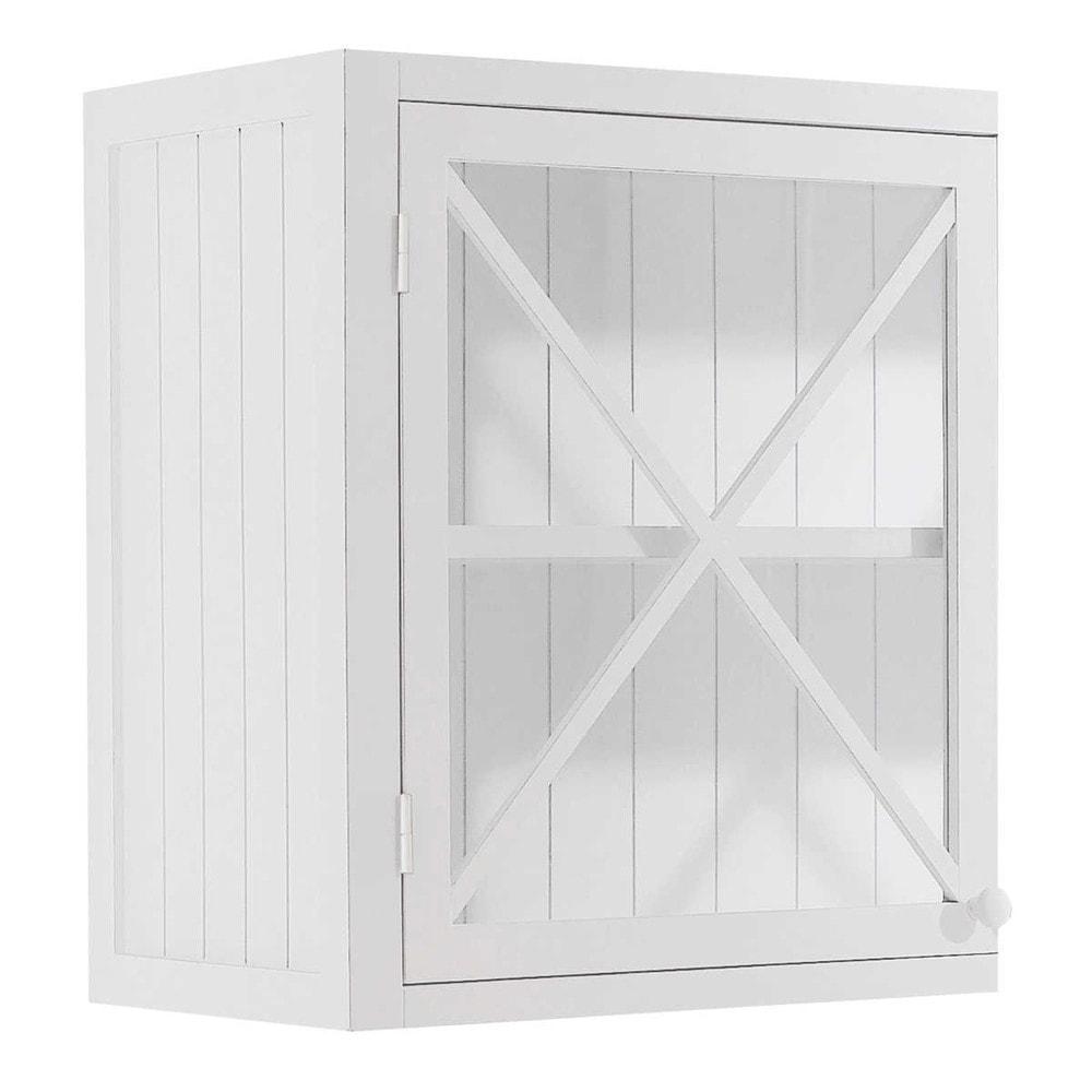 Meuble haut de cuisine 1 porte vitrée poignée à droite blanc (photo)