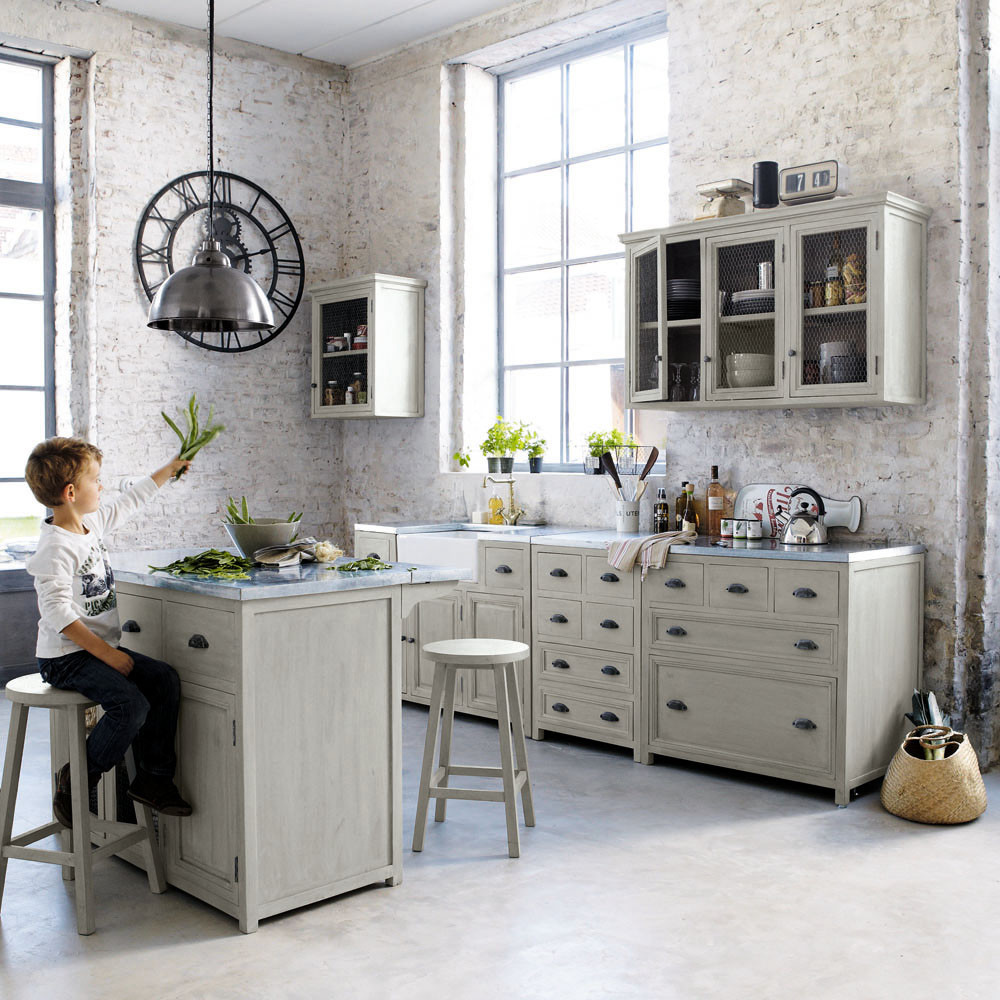 Meuble haut de cuisine 1 porte vitrée poignée à droite gris L60