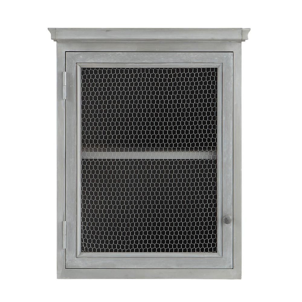 Meuble haut de cuisine 1 porte vitrée poignée à droite gris L60 (photo)