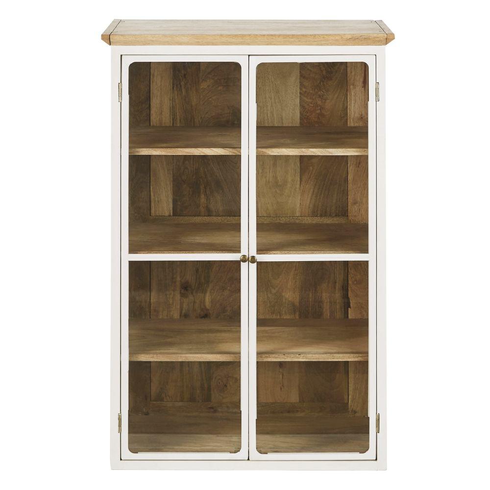 Meuble haut de cuisine 2 portes vitrées et manguier massif blanc L60