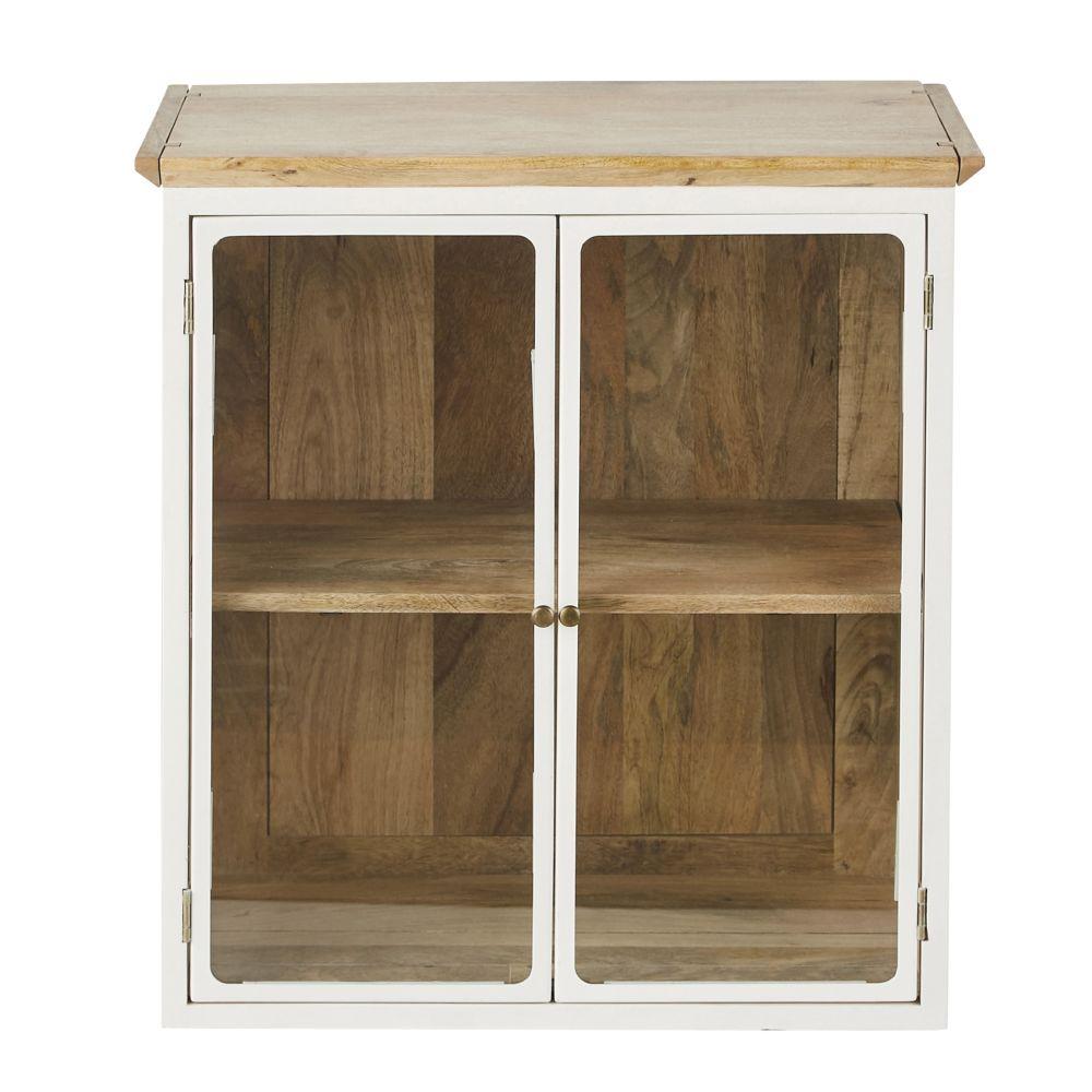 Meuble haut de cuisine en manguier massif blanc 2 portes vitrées L60