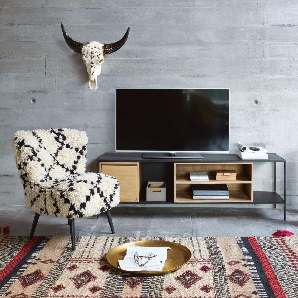 Meuble TV 1 porte en métal noir et manguier massif