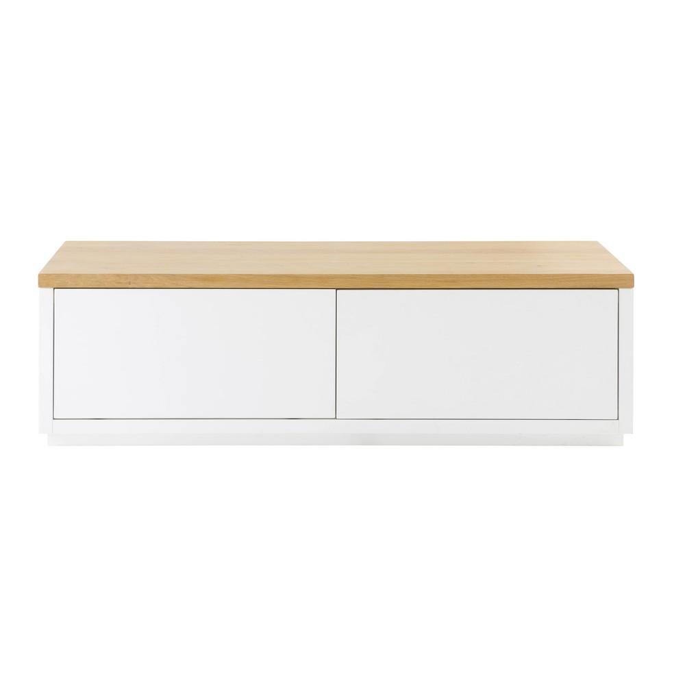 Meuble TV 2 portes blanc L140