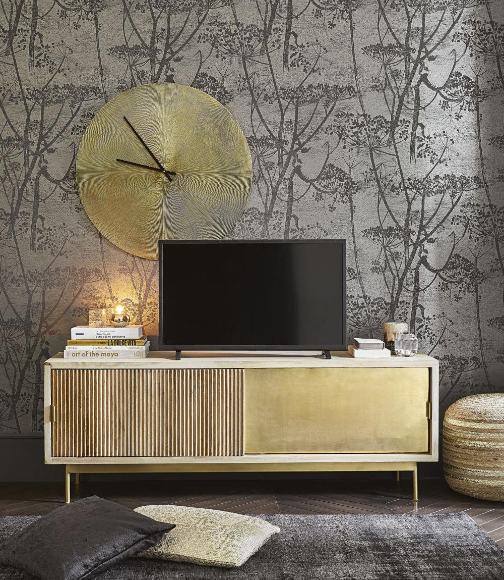 Meuble TV 2 portes coulissantes en manguier