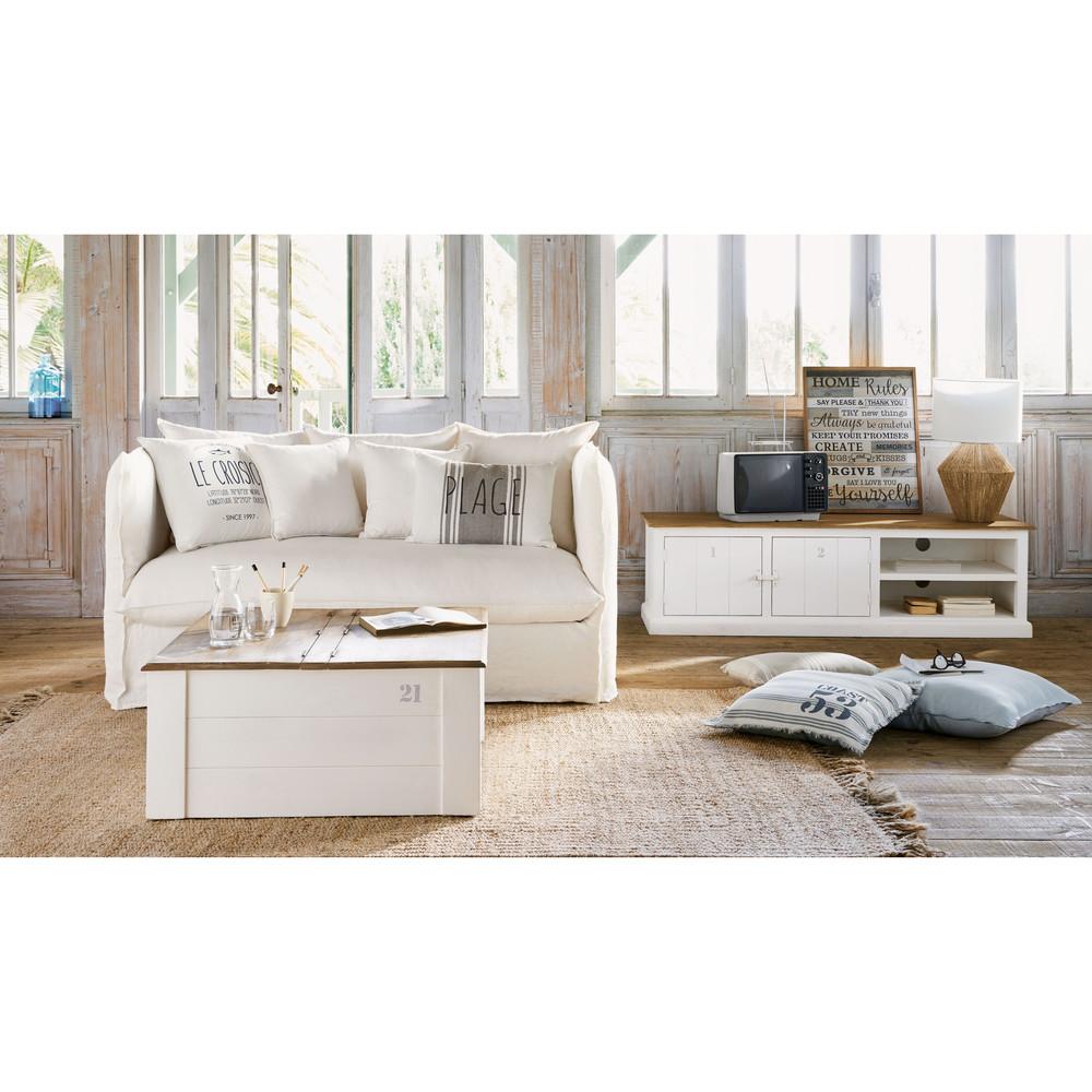 Meuble TV 2 portes en manguier massif grisé et blanc