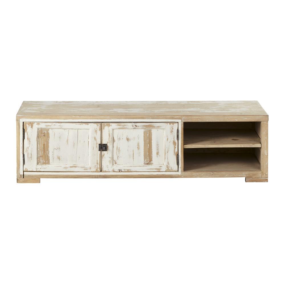 maison du monde Meuble TV 2 portes en pin recyclé blanchi