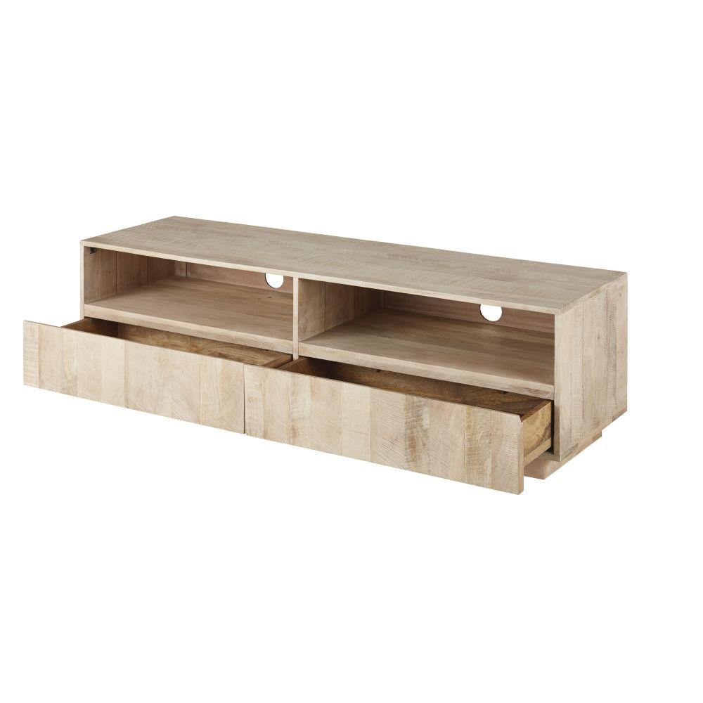 Meuble TV 2 tiroirs en acacia massif