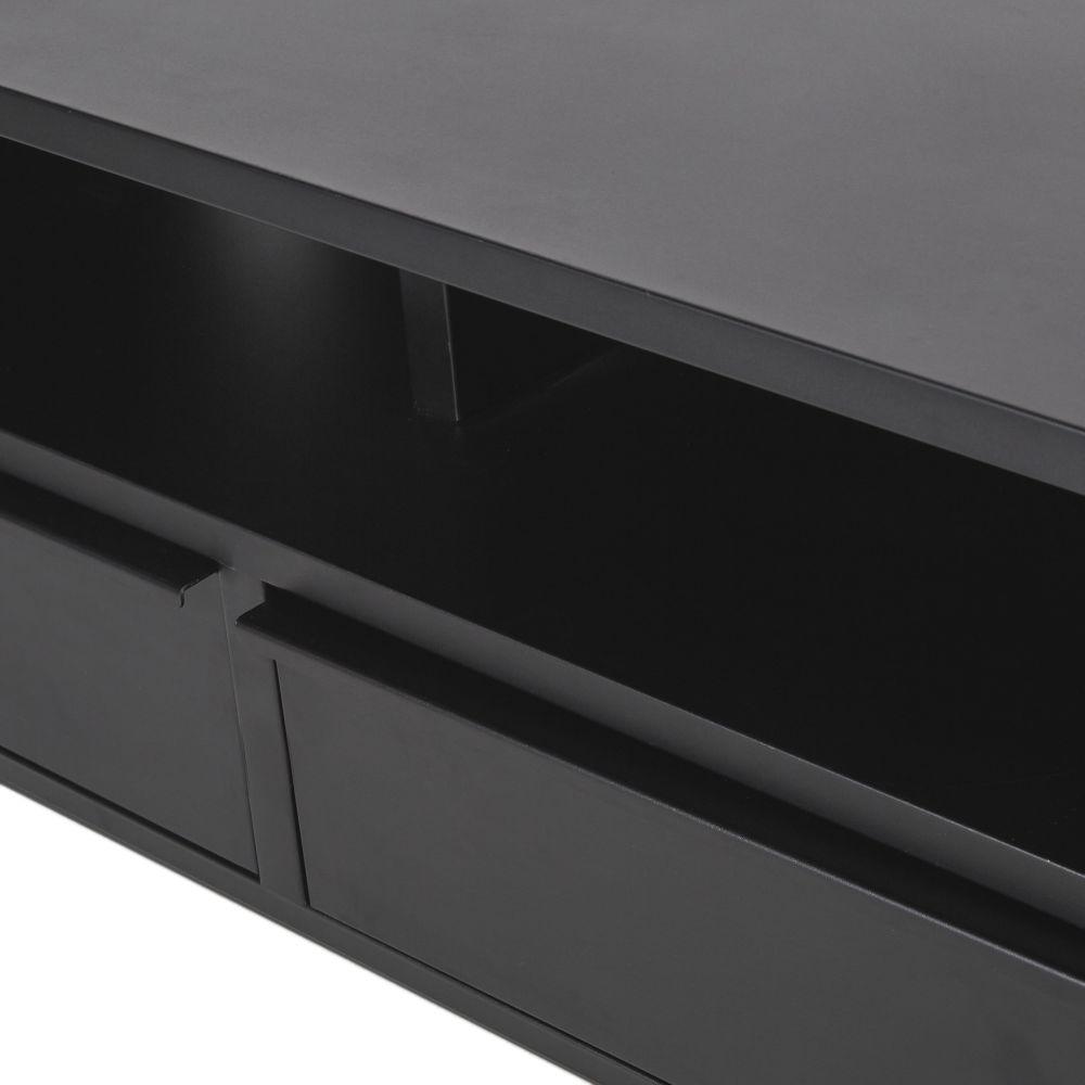 Meuble TV 2 tiroirs en métal noir mat