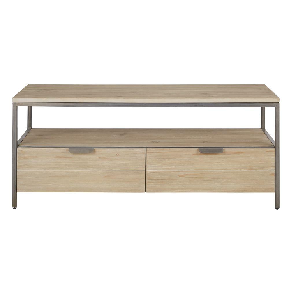 Meuble TV 2 tiroirs finition blanchie et gris