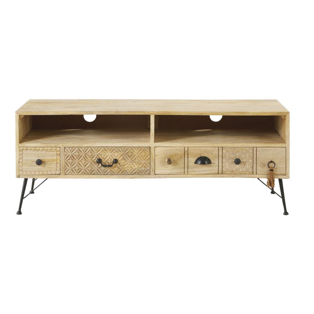 Meuble TV 3 tiroirs en manguier massif