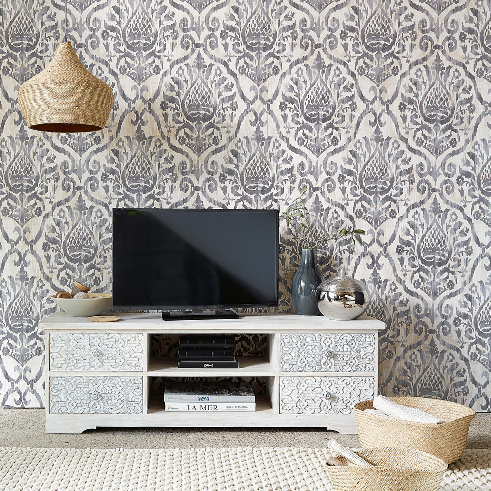 Meuble TV en manguier sculpté et blanchi