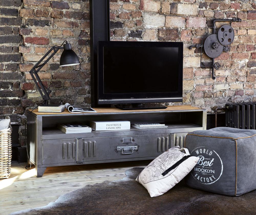 Meuble TV indus 1 porte en métal et manguier