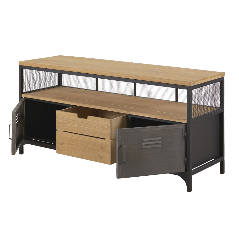 Meuble TV indus 1 tiroir 2 portes en sapin et métal