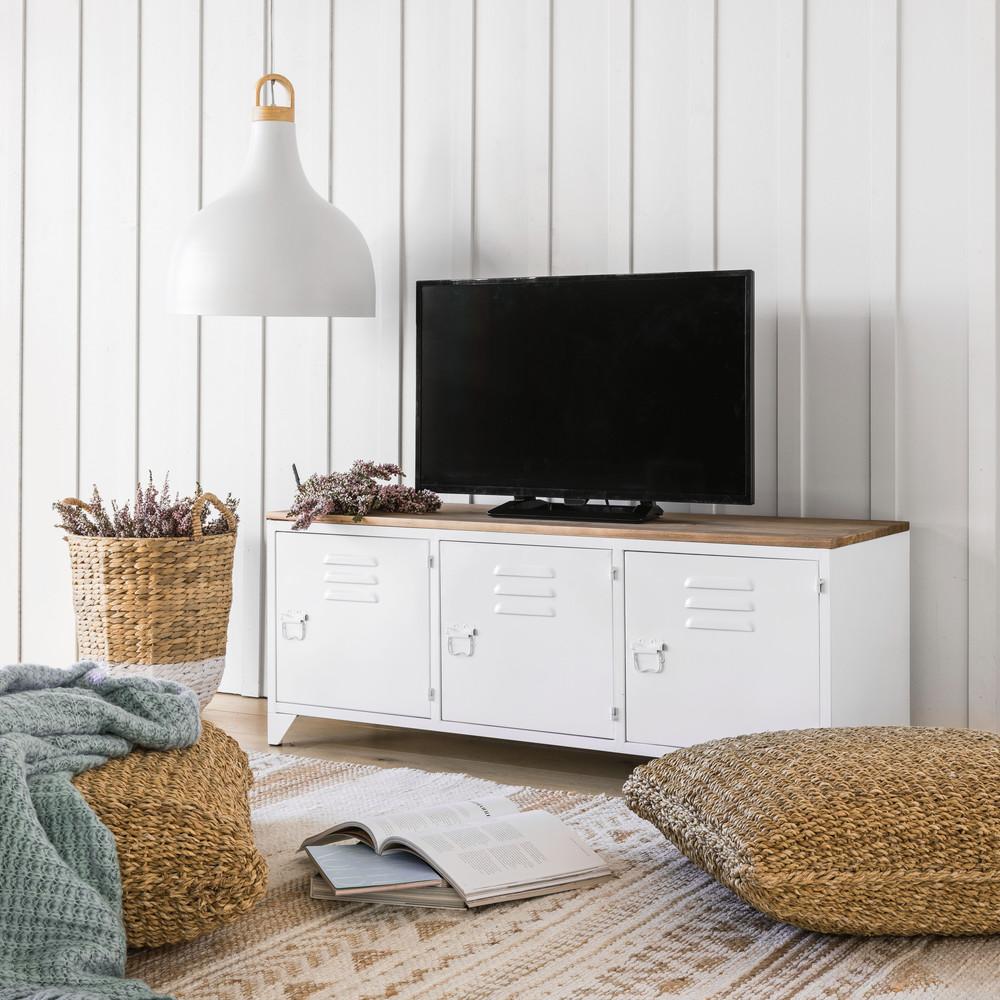 Meuble TV indus 3 portes en métal blanc et sapin