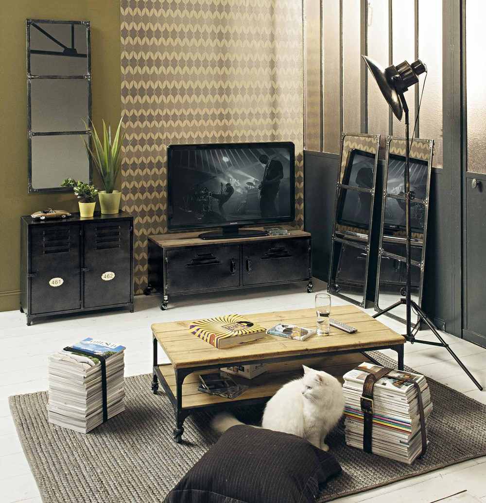 Meuble TV indus à roulettes 2 portes en métal et sapin