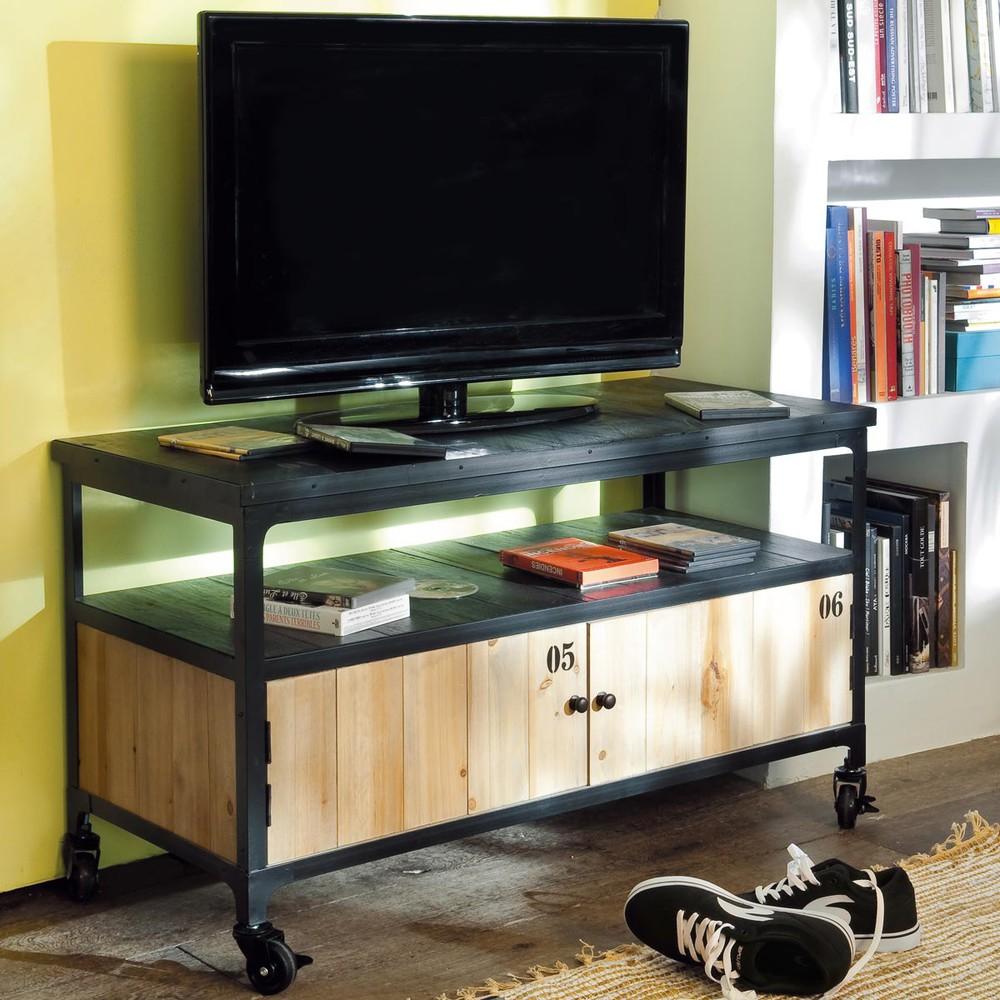 Meuble TV indus à roulettes en métal et sapin noir