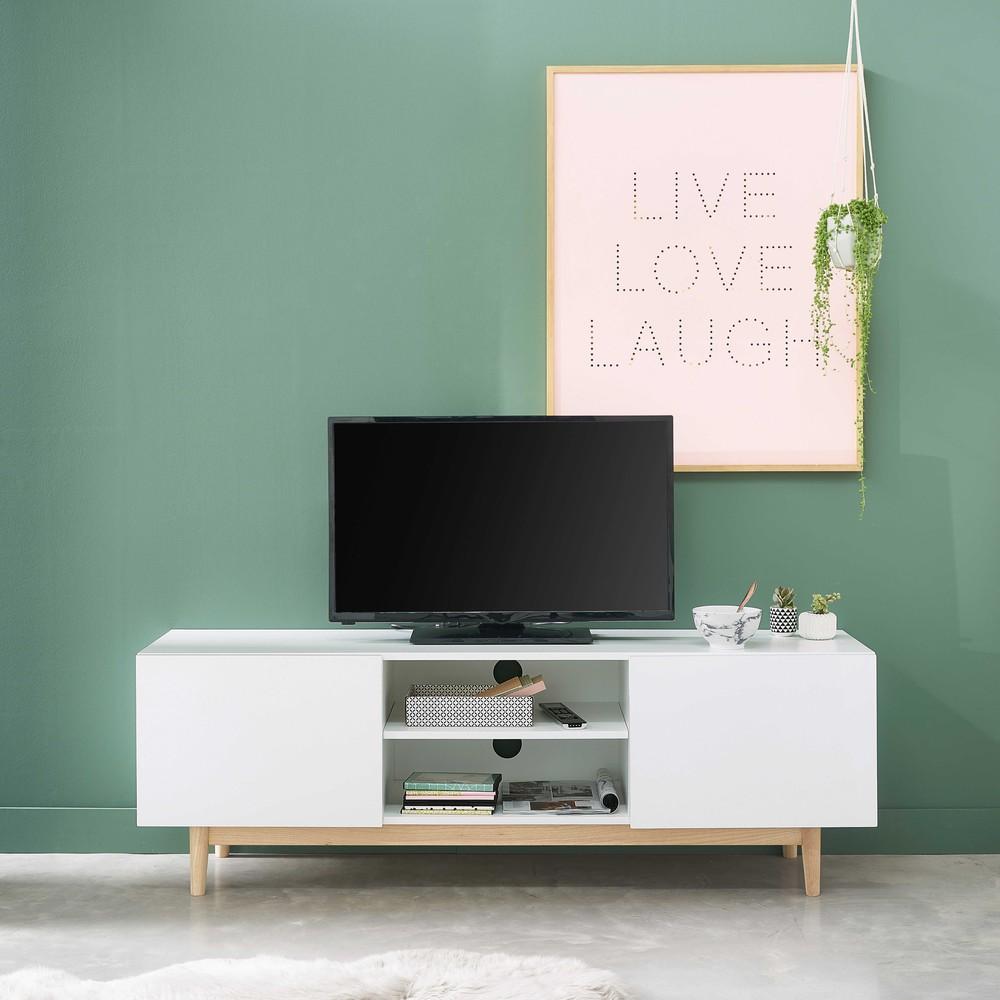 Meuble TV vintage 2 portes blanc