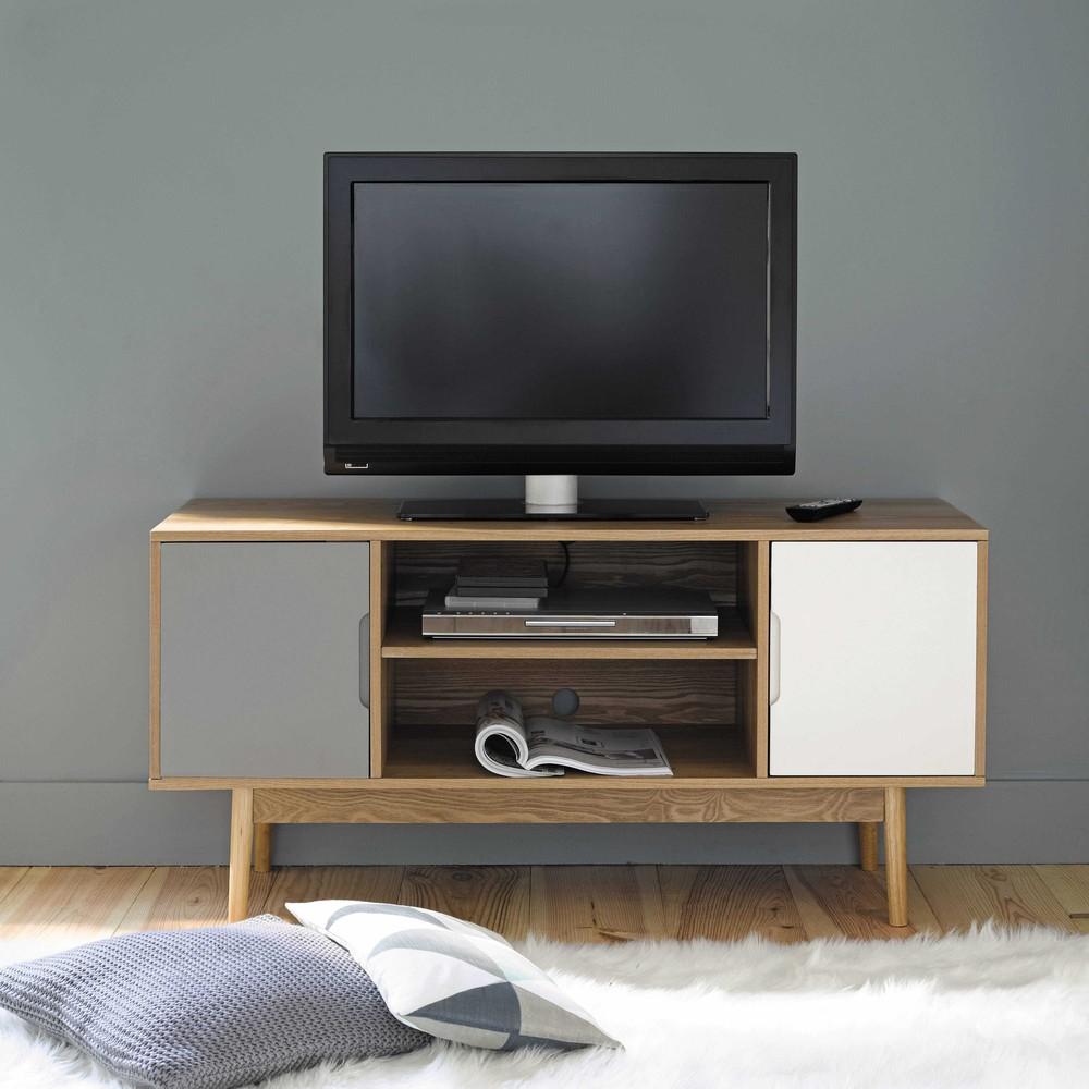 Meuble TV vintage 2 portes blanc et gris