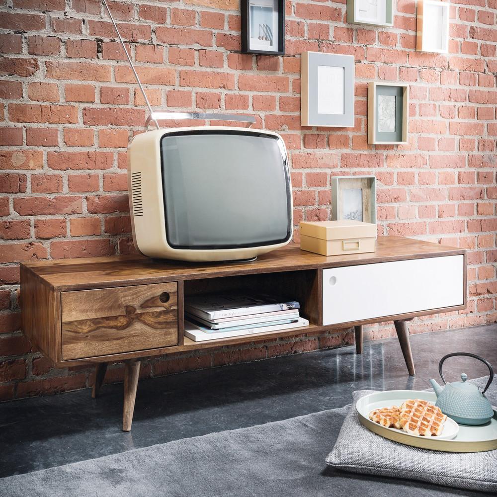 Meuble TV vintage en sheesham