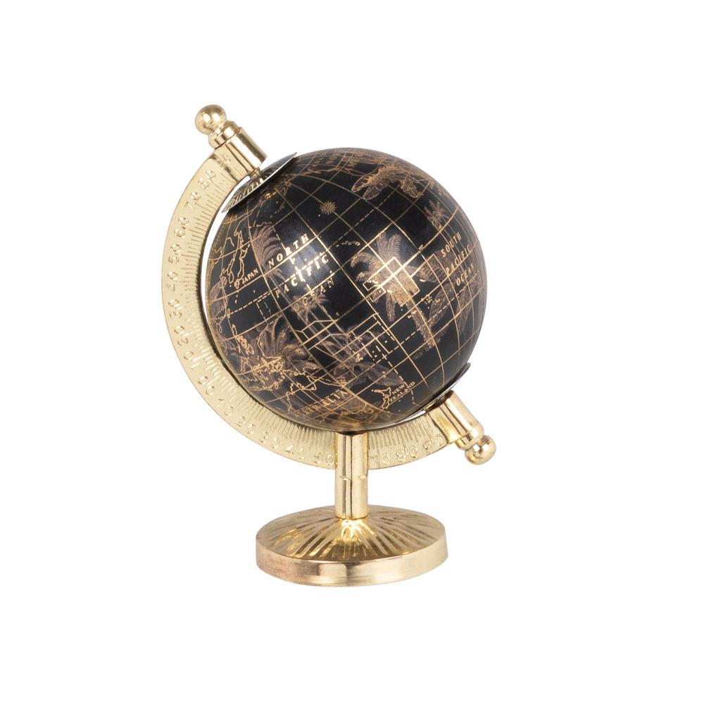 Mini globe terrestre carte du monde en métal noir et doré