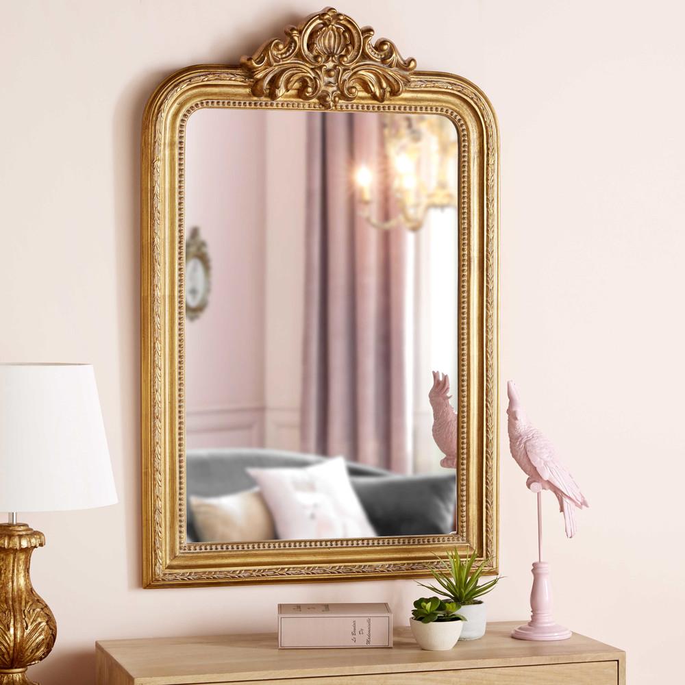 Miroir à moulures dorées 77x120