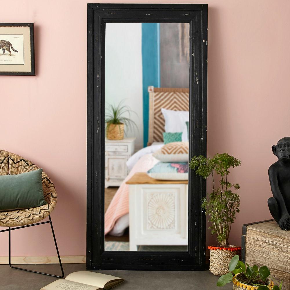 Miroir à moulures en pin noir 80x175