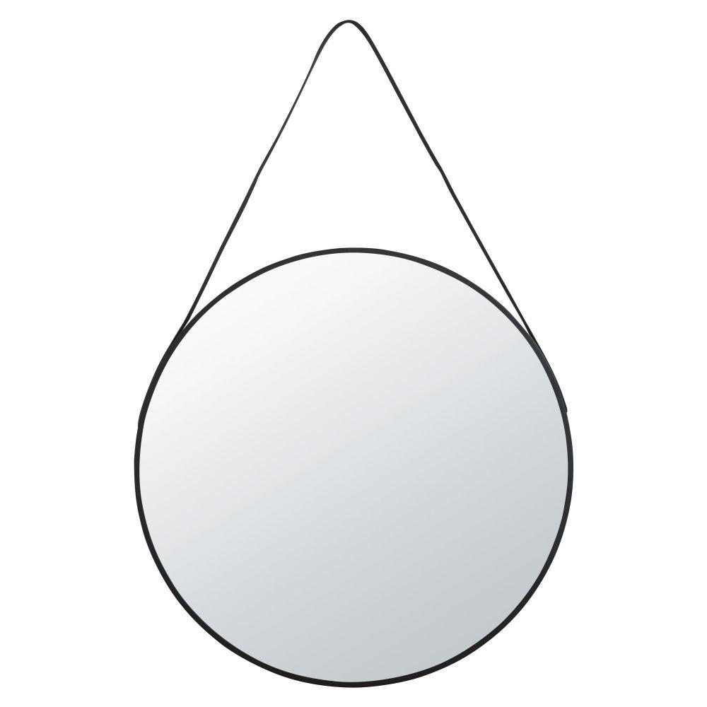 Miroir à suspendre en métal noir D90